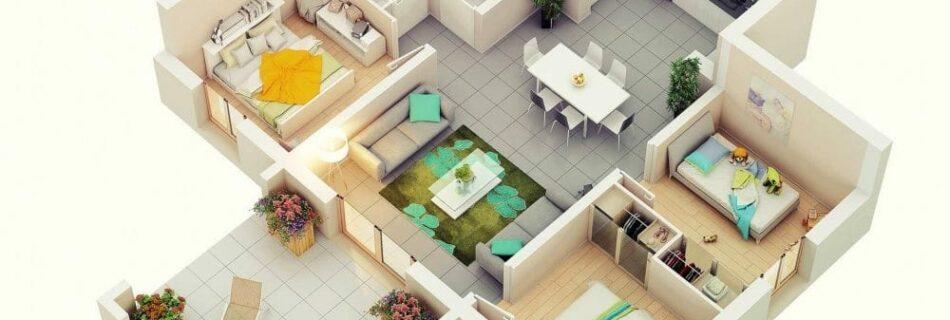 ออกแบบ แปลนบ้าน 3 ห้องนอน