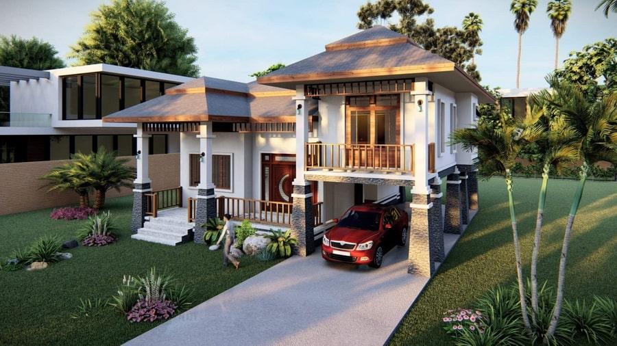 แบบบ้านทรงไทยประยุกต์ขนาดชั้นครึ่ง
